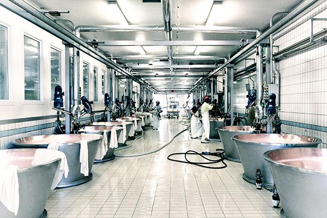 VenditaParmigiano.it - Sala caldaie: qui nasce il Parmigiano Reggiano, dove il latte viene lavorato a caldo ed unito con il caglio e il siero innesto